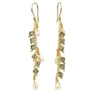 and Diamond Swarovski Crystallized Elements Bead Chain Drop Earrings