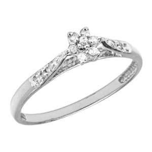 10K White Gold Flower Cluster Diamond Promise Ring Jewelry