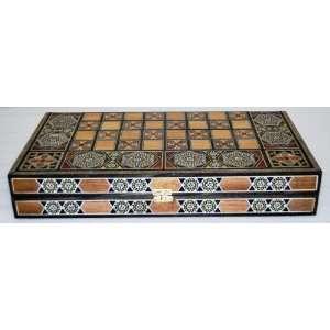 New Mosaic Plus Wood Backgammon Chess Checker Game Board
