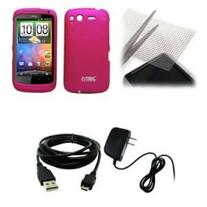 EMPIRE Hot Pink Rubberized Hard Case Cover + Universal Screen