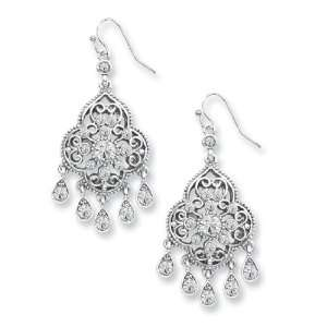 Silver tone Crystal Chandelier Drop Earrings 1928 Boutique Jewelry