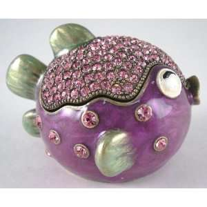 Tropical Blow Fish Crystal Jewelled Hinged Trinket Box