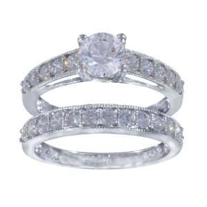 Sterling Silver Cubic Zirconia Ladies Ring Set, Size 6