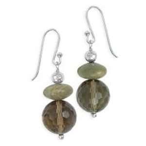 .925 Silver, Jasper & Faceted Smoky Quartz Earrings Jewelry