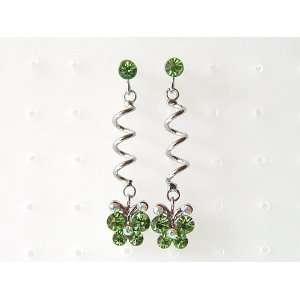 Swirl Spring Cute Round Butterfly Crystal Rhinestone Earrings Jewelry