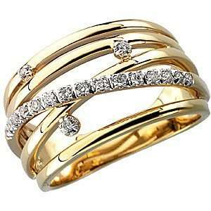 Carat Total Weight Diamond Ring set in 14 kt Yellow Gold(5.5) Jewelry