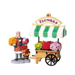Lemax Village Flower Cart Table Piece Set #83694: Home