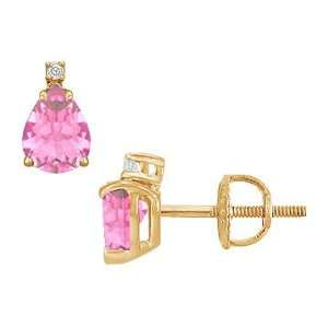 Diamond and Pink Sapphire Stud Earrings  14K Yellow Gold