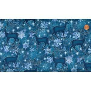 Reindeer on Royal Blue Cotton Fabric 2yards 25inches