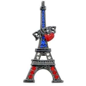 Paris Eiffel Tower with Red heart Swarovski Crystal Black