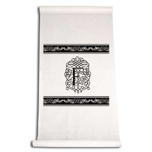 Aisle Runner, Fancy Font Letter F, White with Black: Home & Kitchen