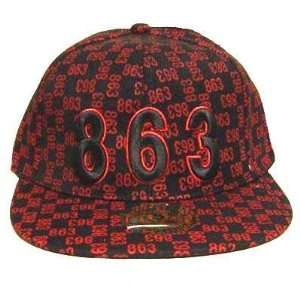 863 RED BLACK FLAT BILL FITTED CAP HAT X  LARGE