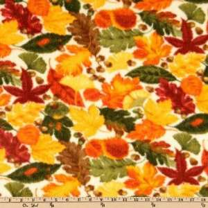 60 Wide Arctic Fleece Harvest Leaves Cream/Beige Fabric