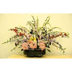 Glass Bonsai Flower Floral Tree Decoration