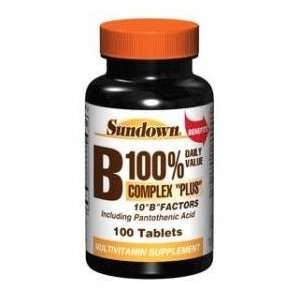 Sundown Vitamin B Complex 100% Daily Value Plus Tablets