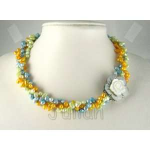 Shell 7mm Multi Color Freshwater Pearl Necklace J051