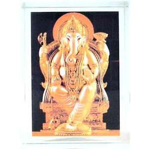 GLASS PAPERWEIGHT WITH PICTURE OF INDIAN GOD GANESH: Office Products