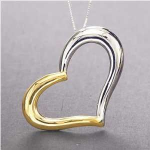 17 14k Two Tone Gold Floating Heart Pendant On Box Chain Jewelry
