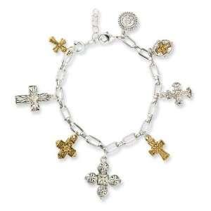 Gold Tone & Silver Tone Seven Cross 7in Charm Bracelet Jewelry