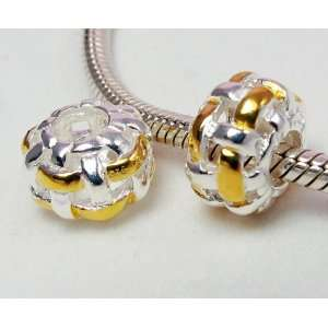 Woven Circle with Gold Plated Threads Charm .925 Sterling Silver Bead
