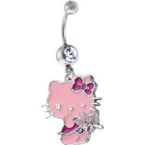 Hello Kitty PINK ANGEL PREMIUM Sexy Cute Belly Navel Ring Silver