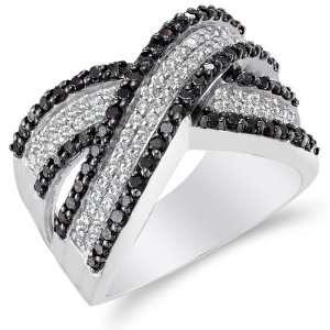 Size 9.5   14K White Gold Large Diamond Cross Over Wedding