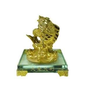 Gold Feng Shui Fish Statue Figurine
