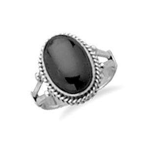 Oval Black Onyx Rope Edge Sterling Silver Ring, 6 Jewelry
