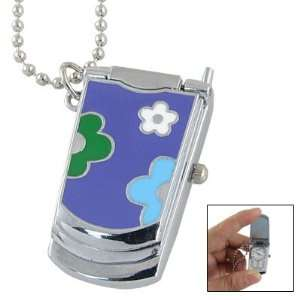 Green White Flower Pattern Cell Phone Shaped Watch Necklace Sports