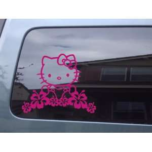 Pink   Hello Kitty With Hibiscus Flowers Vinyl Sticker
