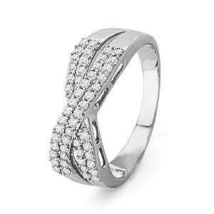 10KT White Gold Round Diamond Fashion Ring (1/3 cttw) D GOLD Jewelry