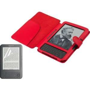 3rd Generation Kindle 3 E Book Reader Red PU Leather Case / Cover