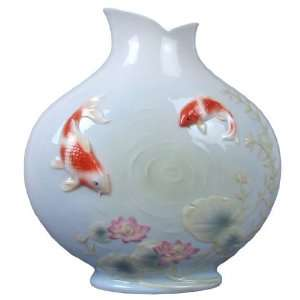 Koi Fish in Lotus Pond Porcelain Vase
