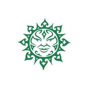 Tribal Sun Large 10 Tall GREEN vinyl window decal sticker