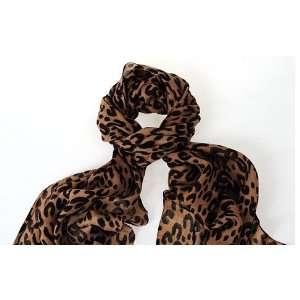 Brown & Black Animal Leopard Print 100% Wool Pashmina