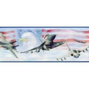 Blue Fighter Jet Wallpaper Border