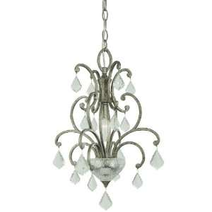 Light Mini Pendant, Roma Silver Finish with Mouth Blown Clear Glass