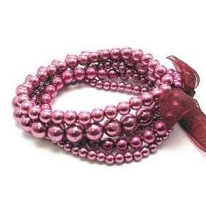 Multistrand Garnet Red Glass Bead Stretch Bracelet Jewelry