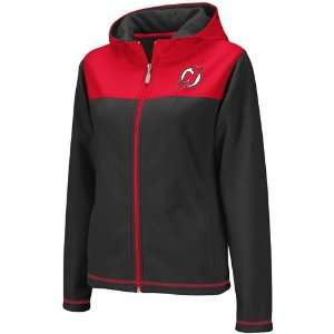Reebok New Jersey Devils Ladies Black Red Microfleece Full Zip Hoodie