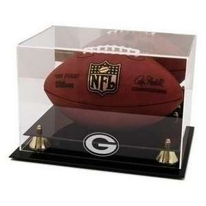 : Football Display Case with Green Bay Packer Logo: Sports & Outdoors