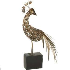 24 Elegant Gold Finish Preening Peacock Table Statue Home & Kitchen