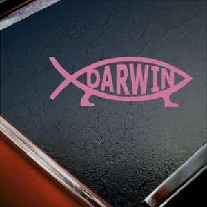 Darwin Fish Sign Pink Decal Evolve Truck Window Pink