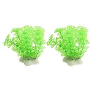 Como 2 Pcs Light Green Plastic Fish Tank Ornament Plant w