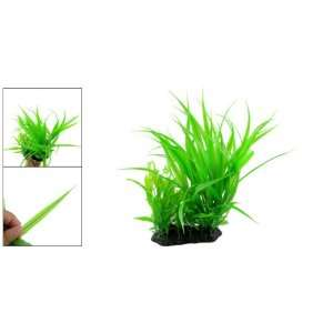 Como Green Plastic Grass Plants Ornament W Flower for Fish Tank
