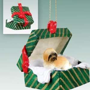 Lhasa Apso Puppy Cut Green Gift Box Dog Ornament Brown