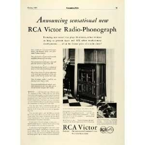 1931 Ad RCA Victor Radio Phonograph Model RAE 59 Record