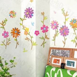 Wall Decor Removable Decal Sticker   Colorful Flowers