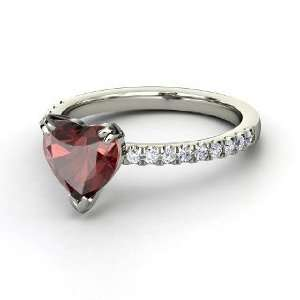 Carina Ring, Heart Red Garnet 14K White Gold Ring with