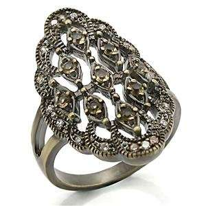 MultiColor Cubic Zirconia Brass Antique Copper Ring AM Jewelry