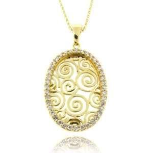 18k Over Sterling Silver Multi Circle Design CZ Pendant Jewelry